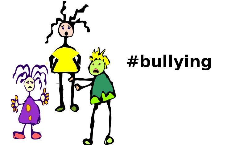 An image depicting three children, one of whom is bullying another. The third child is standing by and watches.